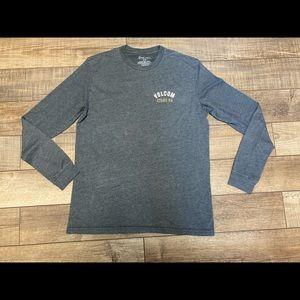 Volcom gray long sleeve logo tee size medium